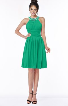 ColsBM Liana Pepper Green Cute A-line Jewel Chiffon Pleated Bridesmaid Dresses