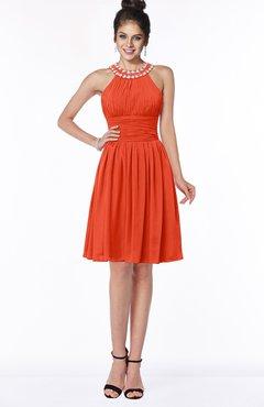 ColsBM Liana Persimmon Cute A-line Jewel Chiffon Pleated Bridesmaid Dresses