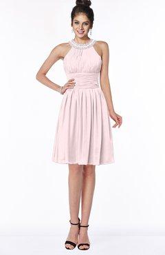 ColsBM Liana Petal Pink Cute A-line Jewel Chiffon Pleated Bridesmaid Dresses