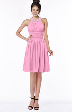 ColsBM Liana Pink Cute A-line Jewel Chiffon Pleated Bridesmaid Dresses