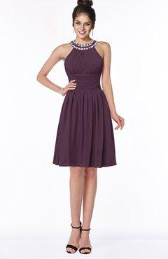ColsBM Liana Plum Cute A-line Jewel Chiffon Pleated Bridesmaid Dresses
