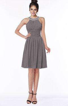 ColsBM Liana Ridge Grey Cute A-line Jewel Chiffon Pleated Bridesmaid Dresses