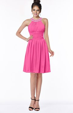 ColsBM Liana Rose Pink Cute A-line Jewel Chiffon Pleated Bridesmaid Dresses