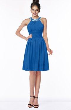 ColsBM Liana Royal Blue Cute A-line Jewel Chiffon Pleated Bridesmaid Dresses