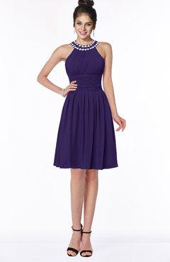 ColsBM Liana Royal Purple Cute A-line Jewel Chiffon Pleated Bridesmaid Dresses