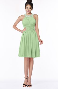 ColsBM Liana Sage Green Cute A-line Jewel Chiffon Pleated Bridesmaid Dresses