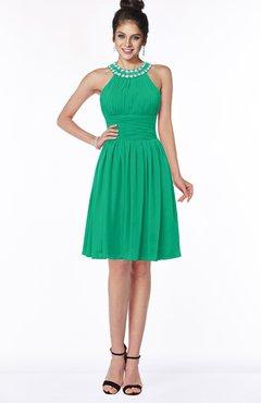 ColsBM Liana Sea Green Cute A-line Jewel Chiffon Pleated Bridesmaid Dresses