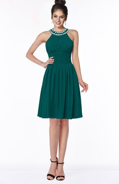 ColsBM Liana Shaded Spruce Cute A-line Jewel Chiffon Pleated Bridesmaid Dresses