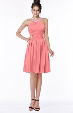 ColsBM Liana Shell Pink Cute A-line Jewel Chiffon Pleated Bridesmaid Dresses