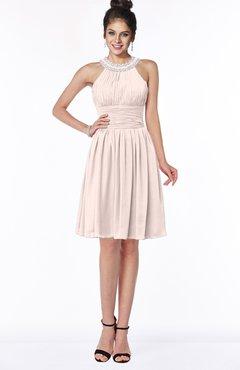 ColsBM Liana Silver Peony Cute A-line Jewel Chiffon Pleated Bridesmaid Dresses