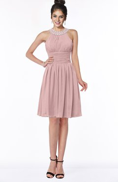 ColsBM Liana Silver Pink Cute A-line Jewel Chiffon Pleated Bridesmaid Dresses