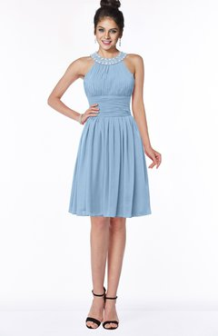 ColsBM Liana Sky Blue Cute A-line Jewel Chiffon Pleated Bridesmaid Dresses