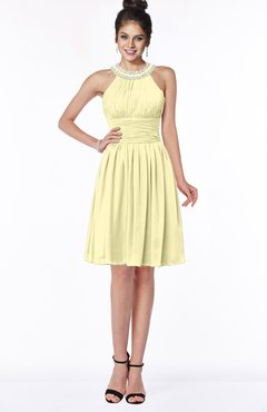 ColsBM Liana Soft Yellow Cute A-line Jewel Chiffon Pleated Bridesmaid Dresses