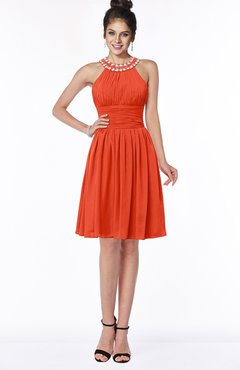 ColsBM Liana Tangerine Tango Cute A-line Jewel Chiffon Pleated Bridesmaid Dresses