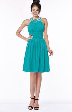 ColsBM Liana Teal Cute A-line Jewel Chiffon Pleated Bridesmaid Dresses