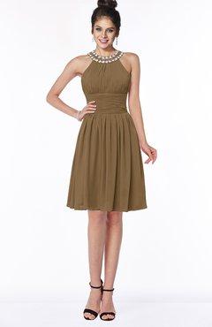 ColsBM Liana Truffle Cute A-line Jewel Chiffon Pleated Bridesmaid Dresses