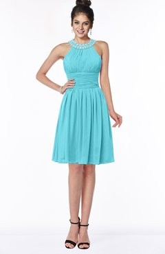 ColsBM Liana Turquoise Cute A-line Jewel Chiffon Pleated Bridesmaid Dresses