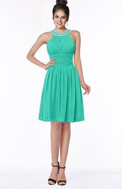 ColsBM Liana Viridian Green Cute A-line Jewel Chiffon Pleated Bridesmaid Dresses