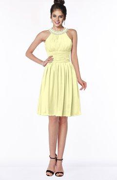 ColsBM Liana Wax Yellow Cute A-line Jewel Chiffon Pleated Bridesmaid Dresses