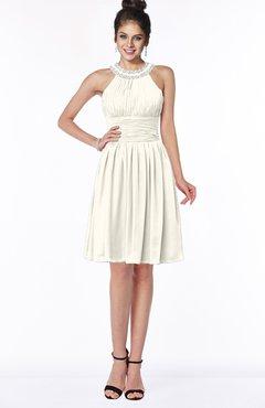 ColsBM Liana Whisper White Cute A-line Jewel Chiffon Pleated Bridesmaid Dresses