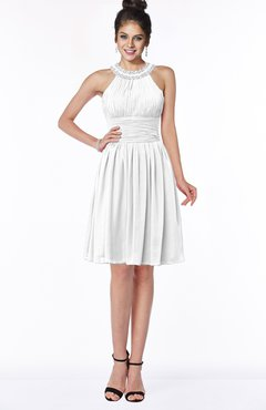 ColsBM Liana White Cute A-line Jewel Chiffon Pleated Bridesmaid Dresses