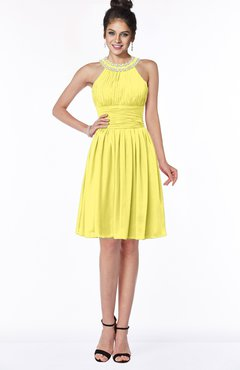 ColsBM Liana Yellow Iris Cute A-line Jewel Chiffon Pleated Bridesmaid Dresses