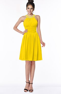 ColsBM Liana Yellow Cute A-line Jewel Chiffon Pleated Bridesmaid Dresses