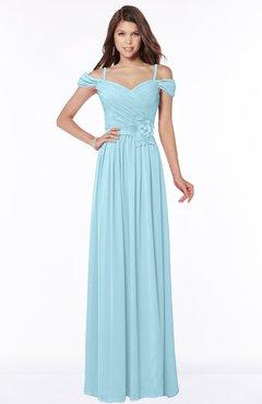ColsBM Kate Aqua Luxury V-neck Short Sleeve Zip up Chiffon Bridesmaid Dresses