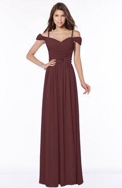 ColsBM Kate Burgundy Luxury V-neck Short Sleeve Zip up Chiffon Bridesmaid Dresses