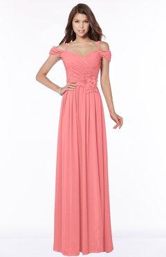 ColsBM Kate Coral Luxury V-neck Short Sleeve Zip up Chiffon Bridesmaid Dresses