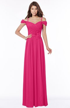 ColsBM Kate Fuschia Luxury V-neck Short Sleeve Zip up Chiffon Bridesmaid Dresses