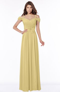 ColsBM Kate Gold Luxury V-neck Short Sleeve Zip up Chiffon Bridesmaid Dresses