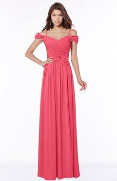 ColsBM Kate Guava Luxury V-neck Short Sleeve Zip up Chiffon Bridesmaid Dresses