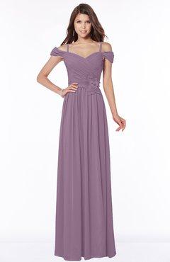 ColsBM Kate Mauve Luxury V-neck Short Sleeve Zip up Chiffon Bridesmaid Dresses