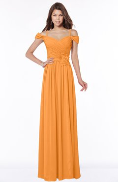 ColsBM Kate Orange Luxury V-neck Short Sleeve Zip up Chiffon Bridesmaid Dresses