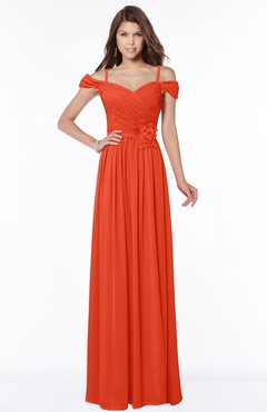 ColsBM Kate Persimmon Luxury V-neck Short Sleeve Zip up Chiffon Bridesmaid Dresses