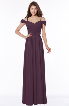 ColsBM Kate Plum Luxury V-neck Short Sleeve Zip up Chiffon Bridesmaid Dresses