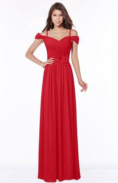 ColsBM Kate Red Luxury V-neck Short Sleeve Zip up Chiffon Bridesmaid Dresses