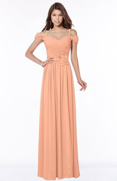 ColsBM Kate Salmon Luxury V-neck Short Sleeve Zip up Chiffon Bridesmaid Dresses