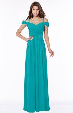 ColsBM Kate Teal Luxury V-neck Short Sleeve Zip up Chiffon Bridesmaid Dresses