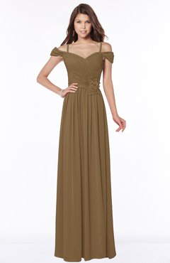 ColsBM Kate Truffle Luxury V-neck Short Sleeve Zip up Chiffon Bridesmaid Dresses