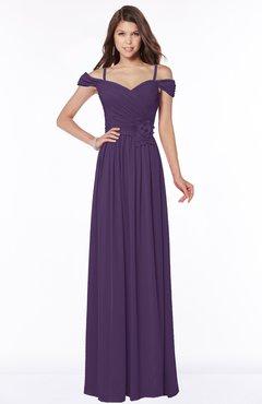 ColsBM Kate Violet Luxury V-neck Short Sleeve Zip up Chiffon Bridesmaid Dresses