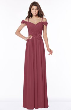 ColsBM Kate Wine Luxury V-neck Short Sleeve Zip up Chiffon Bridesmaid Dresses
