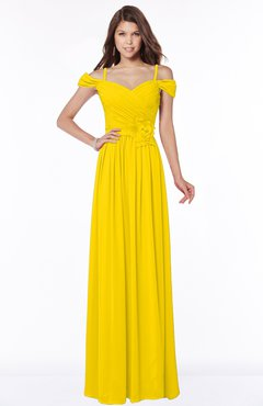 ColsBM Kate Yellow Luxury V-neck Short Sleeve Zip up Chiffon Bridesmaid Dresses
