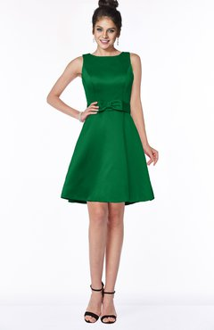 ColsBM Laney Green Luxury A-line Scoop Sleeveless Satin Bow Bridesmaid Dresses