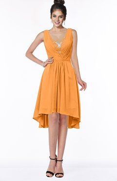 ColsBM Monica Orange Traditional A-line V-neck Half Backless Chiffon Hi-Lo Bridesmaid Dresses