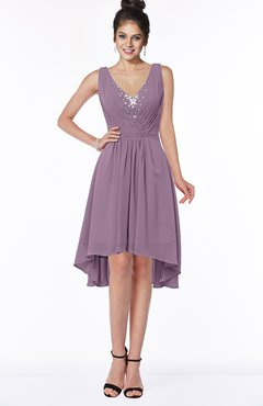 ColsBM Monica Valerian Traditional A-line V-neck Half Backless Chiffon Hi-Lo Bridesmaid Dresses