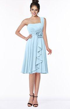 ColsBM Phoebe Ice Blue Glamorous Bateau Sleeveless Zip up Chiffon Knee Length Bridesmaid Dresses