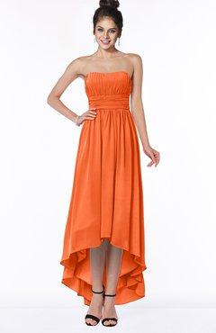 ColsBM Heather Tangerine Modern Sleeveless Zip up Chiffon Hi-Lo Bridesmaid Dresses
