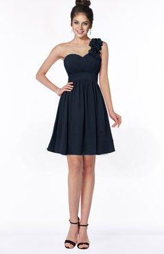 ColsBM Clara Navy Blue Gorgeous One Shoulder Sleeveless Chiffon Flower Bridesmaid Dresses